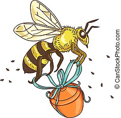 Bee Carrying Honey Pot Drawing - Drawing sketch style...