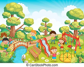 Children playing in the park - Children playing with toys on...