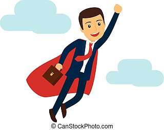 Office super business man flying icon