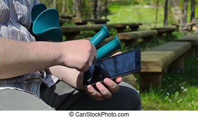 Disabled man with tablet PC