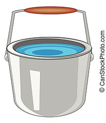 Pail with water - Iron pail with water on white background...