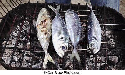 Cooking Fish on Barbeque