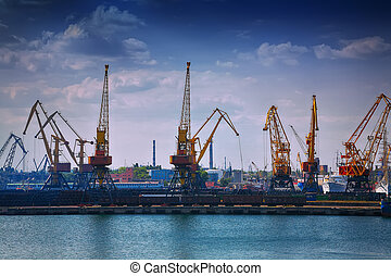 Harbour Level Luffing Cranes in Port. Odessa sea port....