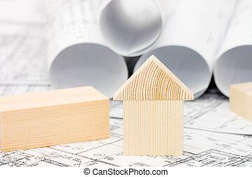 legno, progetto, modello, casa