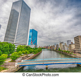 Osaka skyscrapers over the river