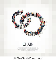 chain people sign - Isometric set of styles, chain , web...