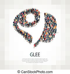 glee people sign 3d - Isometric set of styles, glee , web...