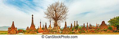 Sankar pagoda. Shan state. Myanmar. Panorama - Buddhist...