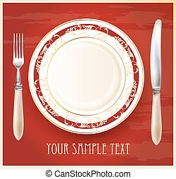 Realistic plate with knife and fork. Menu design template.