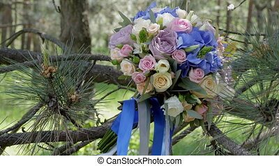 Bridal Bouquet On The Tree - Beautiful Bridal Bouquet, Close...