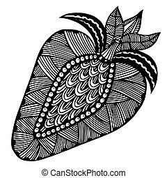 Strawberry black and white Hand-drawn, doodle, vector Made...