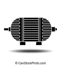 electric motor icon - Electric motor icon with shadow Flat...