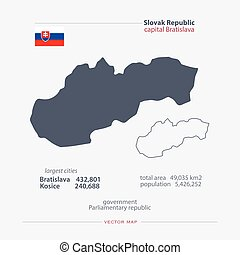 slovakia - Slovak Republic isolated maps and official flag...