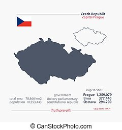 czech - Czech Republic isolated maps and official flag icon....