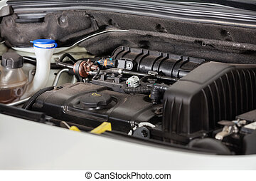 High Angle View Of Car Engine - High angle view of car...