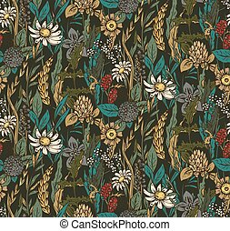 Vector seamless pattern with hand drawn flowers and herbs....
