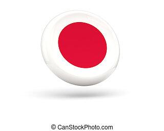 bandeira, de, japan., redondo, ícone,