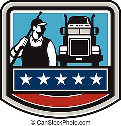 Pressure Washer Worker Truck Crest USA Flag Retro -...