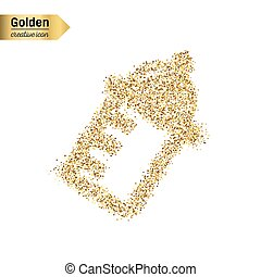 Gold glitter vector icon of nursing bottle isolated on background. Art creative concept illustration for web, glow light confetti, bright sequins, sparkle tinsel, abstract bling, shimmer dust, foil.