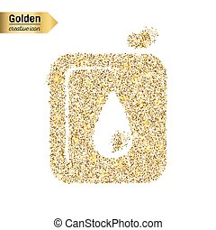 Gold glitter vector icon of canister isolated on background. Art creative concept illustration for web, glow light confetti, bright sequins, sparkle tinsel, bling logo, shimmer dust, foil.