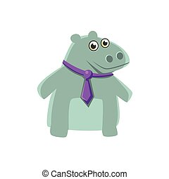 Hippo Wearing Neck Tie