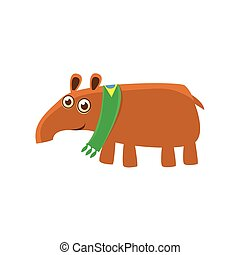 Tapir Wearing Brazilian Fan Scarf Illustration. Funny...