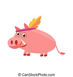 Pig Wearing Indian Head Gear Illustration. Funny Childish...