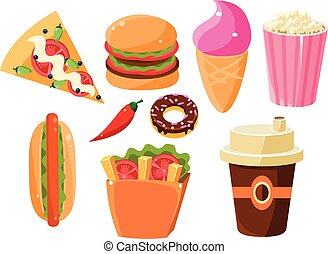 Fast Food Items Set Of Isolated Icons Junk food Collection...