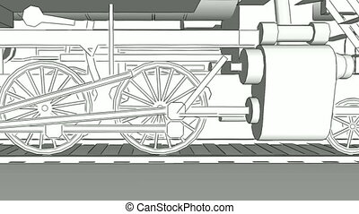 Old steam train close-up sketch - Close-up of old steam...