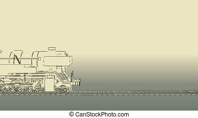 Old steam train cartoon sketch - Outline sketch cartoon 2D...