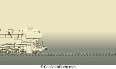 Old steam train cartoon sketch - Outline sketch cartoon 2D...