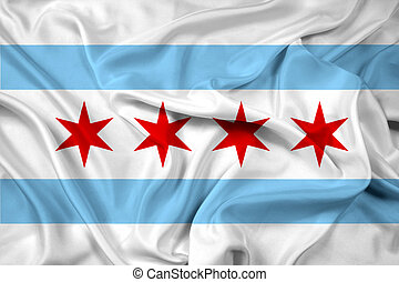 Waving Flag of Chicago, Illinois