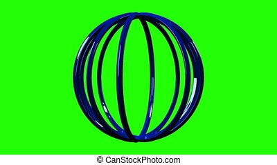 Blue Circle Abstract On Green Chroma Key. Loop able 3DCG...