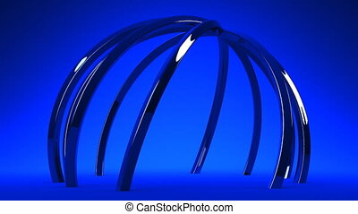 Blue Circle Abstract On Blue Background Loop able 3DCG...