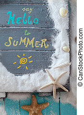 Summer background Wooden sign with Hello Summer lettering...