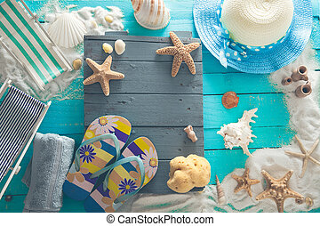 Summer background. Wooden background with white sand and...