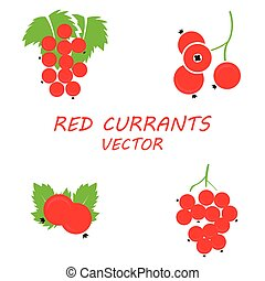 Vector flat red currants icons set on white background