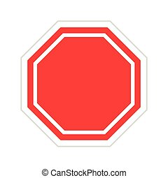 Vector red blank stop sign on white background
