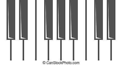 鋼琴, 矢量, 黑色, 鑰匙, 圖象