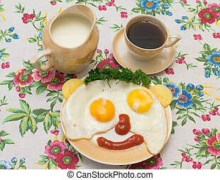 mug of two eggs with coffee and milk on a beautiful...