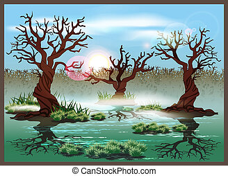 swamp - Stylized illustration marshland Seamless...