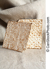 Matzoh On Canvas Background - Seder concept. Still life with...