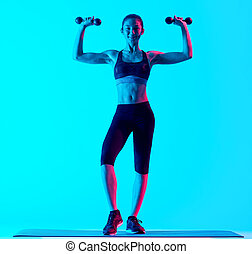 woman fitness weights exercices isolated