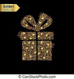 Gold glitter vector icon of gift box isolated on background. Art creative concept illustration for web, glow light confetti, bright sequins, sparkle tinsel, abstract bling, shimmer dust, foil.