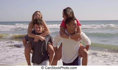 Woman Shoulder Ride - Young nice girls piggyback and...