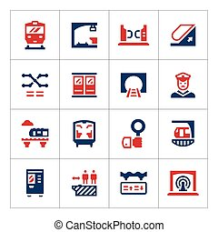 Set color icons of subway isolated on white Vector...