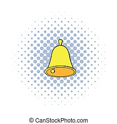 Golden hand bell icon, comics style - Golden hand bell icon...
