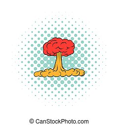 Nuclear explosion icon, comics style