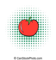 Tomato icon in comics style on a white background