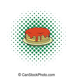 Stack of pancakes with syrup icon, comics style